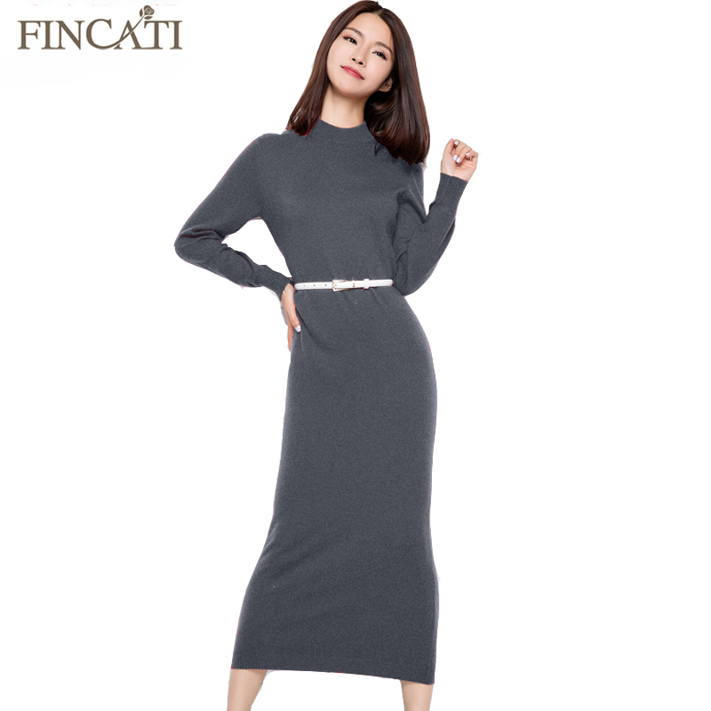 2018 Runway Women Autumn Winter Plain Knitted 5 Colors Half Turtleneck Ankle Length Slim Fitted Cashmere Sweater Dress Vestido