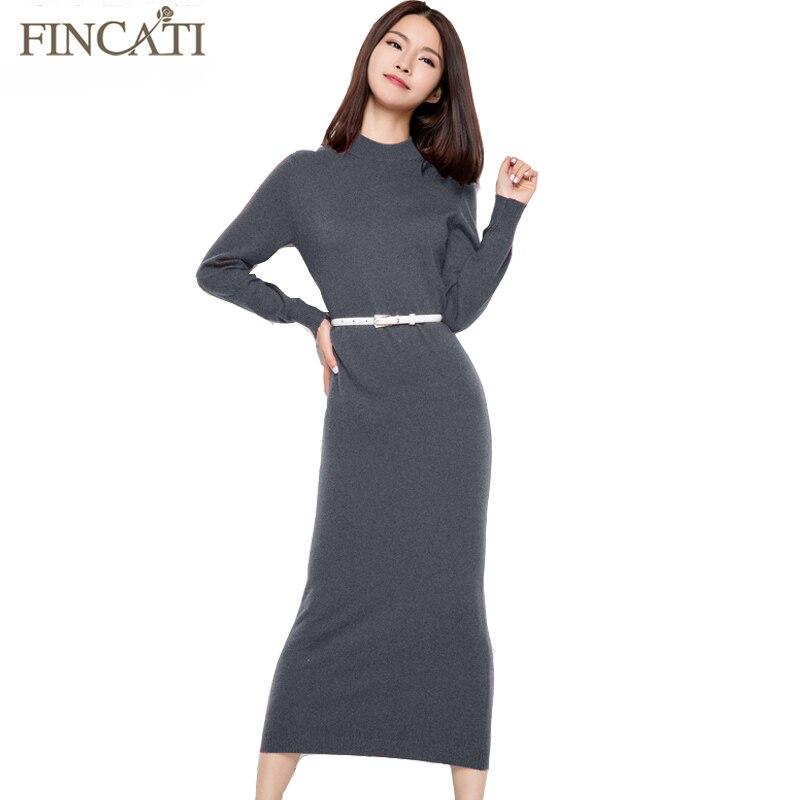 купить 2018 Runway Women Autumn Winter Plain Knitted 5 Colors Half Turtleneck Ankle-Length Slim Fitted Cashmere Sweater Dress Vestido недорого