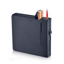 Nieuwe Cigarette Case Aansteker Sigaar Box Holder Torch Turbo Aansteker Winddicht Gasaansteker Hervulbare Fire Butaan Jet Gat GEEN GAS