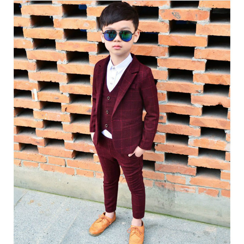 2018 New Boy'S Suits Clothing Suit For Wedding Boy Party Suits Plaid 3pieces Coat+Vest+Pants Boys Birthday Suit 3-10T i k boy vest suit breathable sport suit for boys 2017 summer new arrived children clothing two piece set comfortable suits a1082