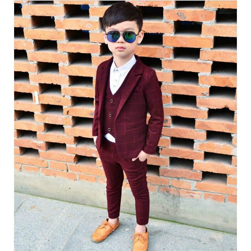 2019 Nouvelle Boy Costumes Vêtements Costume Pour Le Mariage Party Boy Costumes Plaid 3 pièces Manteau + Gilet + Pantalon Garçons costume d'anniversaire 3-10 t