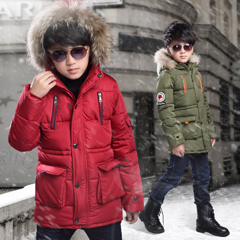 Warm Thickening Winter Fur Collar Child Coat Children Outerwear Windproof Baby Boys Girls Jackets For 5 8 10 12 Years Old in Down Parkas from Mother Kids