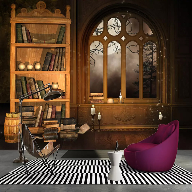 Custom 3D Photo Wallpaper European Style Retro Nostalgia Library Bookshelf Study Mural Living Room Restaurant Cafe Papier Peint