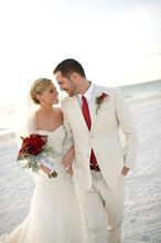 2016 Summer Linen Tuxedos For Beach Wedding Morning Men Suits Groom Wear Best Man Suit 2 Pieces Custom Made Jacket+Pants+Tie