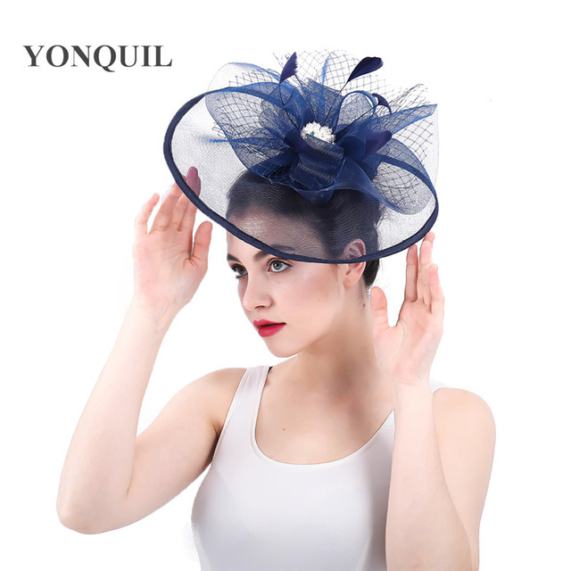 413cb5d5c US $14.44 15% OFF|navy fascinators hat big flowers wedding hair accessories  Multicolors top quality for church Kentucky derby ascot races hairclip-in  ...