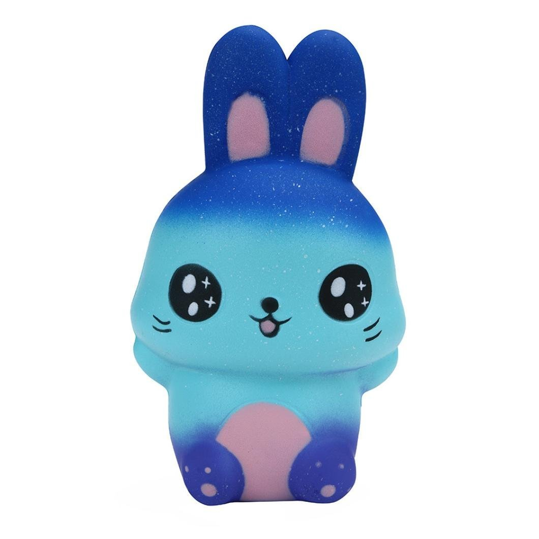 Cute Jumbo Rainbow Cartoon Rabbit Bunny Squishy Slow Rising Straps Soft Squeeze Cream Scented Bread Cake Toy Gift Kid Fun