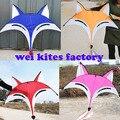 Envío gratuito de alta calidad nuevo diseño 2 m zorro cometa weifang kite 5 unids/lote con mango línea de juguetes al aire libre de fábrica paracaídas kevlar