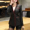 Новый свободного покроя женщин кожаный пиджак с длинным рукавом PU кожаное пальто замши бизнес одежда леди одежда KFL928 Большой размер