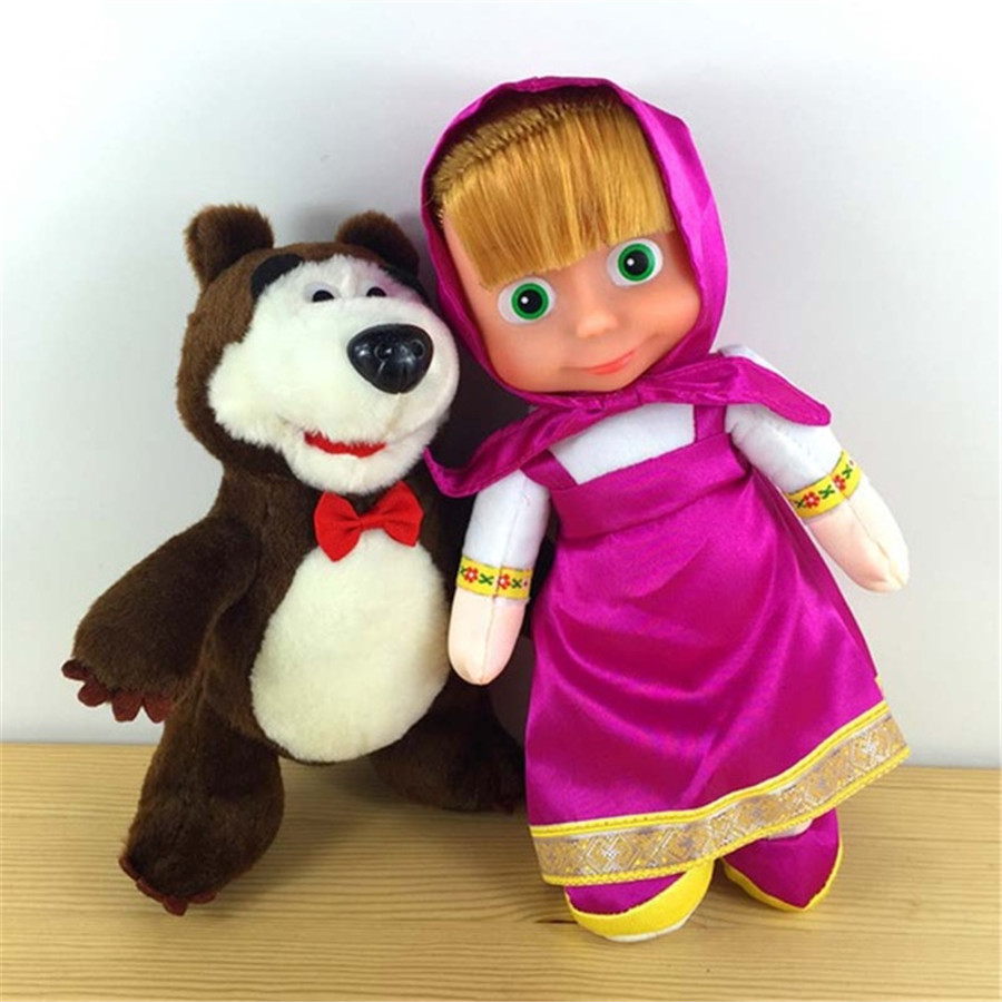 Anime Masha and Bear Russian Briquedos Toys Plush Dolls Popular Birthday Gifts Stuffed Brinquedos New Kids High Quality LIO 2PCS цена