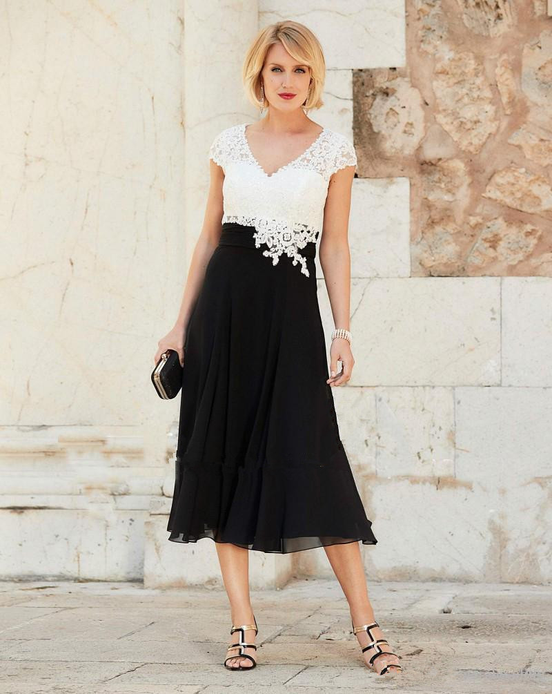 Black 2019 Mother Of The Bride Dresses A-line Cap Sleeves Chiffon Lace Tea Length Formal Groom Short Mother Dresses For Wedding