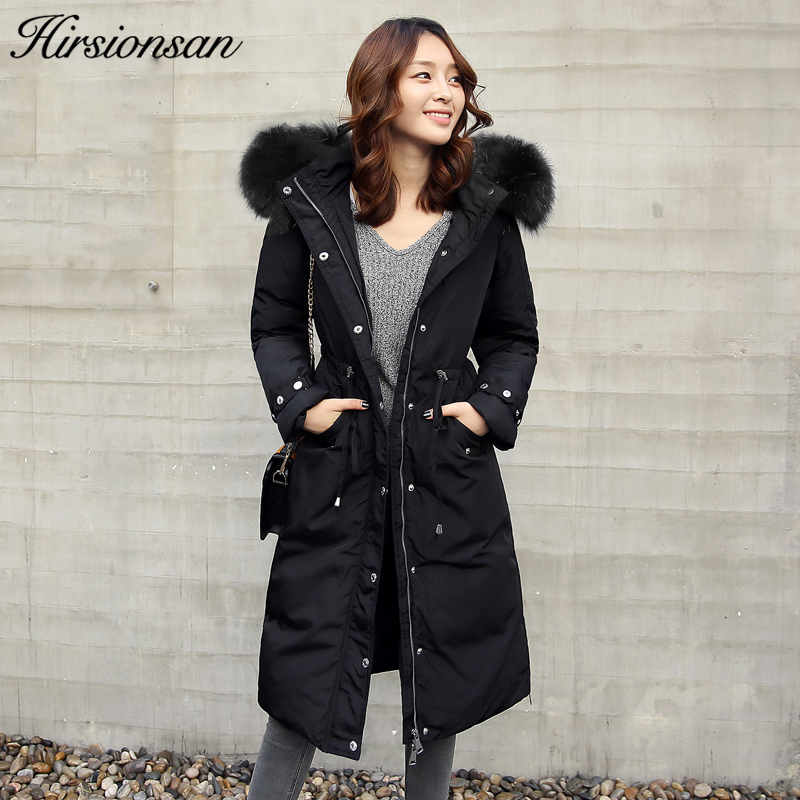 Hirsionsan Winter Coat Women 2017 Real Raccoon Fur Collar Hooded Down Parkas Long Warm 70% Duck Down Jacket Female Winter Coat цены онлайн