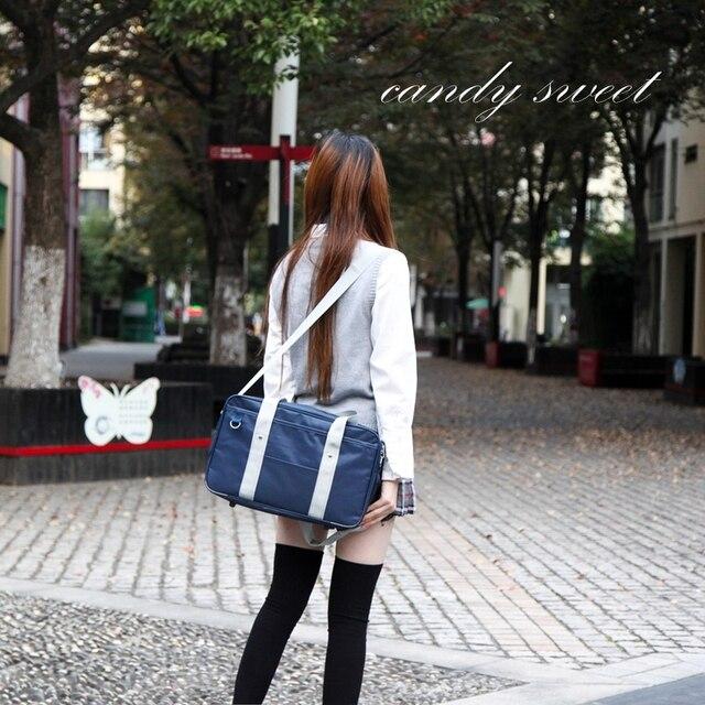 Japanese school Handbags Oxford Travel Bag Women Shoulder Satchel Bags Solid Color High School Students Bookbags messenger bag