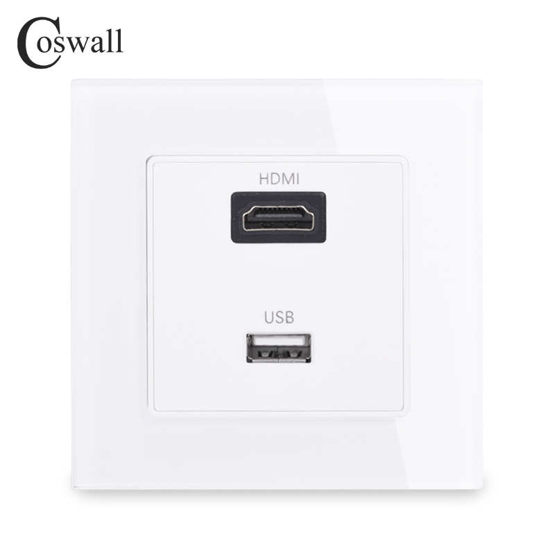 Coswall Crystal Tempered Glass Panel HDMI 2.0 Port USB 2.0 Jack Wall Power Socket Outlet AC 110~250V C1 series C1-HU