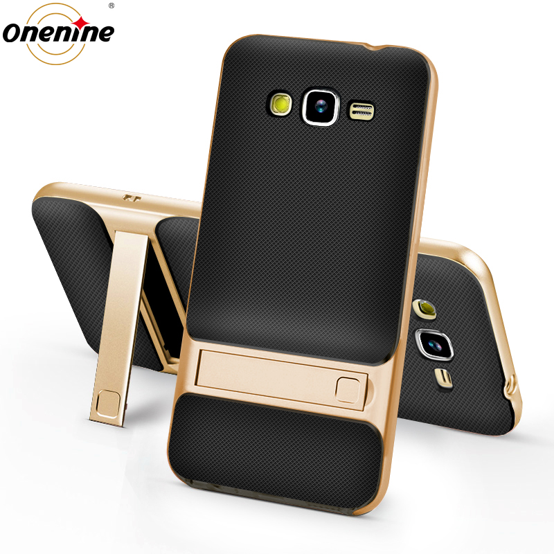 3D Kickstand Phone Case voor Samsung Galaxy J2 Prime G532F Case Silicone Cover 360 Protection TPU + PC Hybrid Mobile Back Cover 5.0