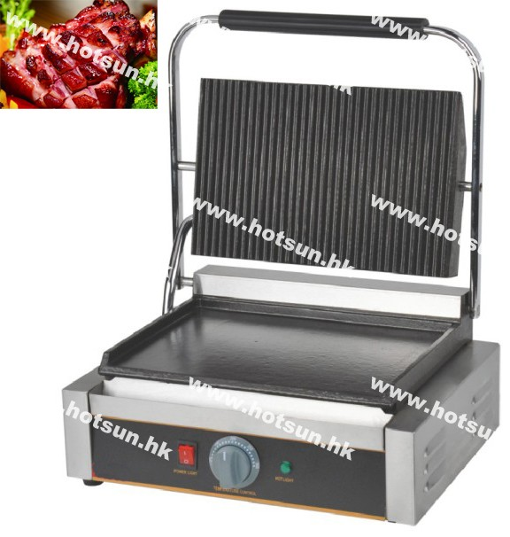 Commercial Heavy Duty Non-stick 220v Electric Ribbed & Flat Iron Plates Panini Sandwich Contact Grill Griddle Toaster Machine commercial heavy duty non stick 220v electric ribbed