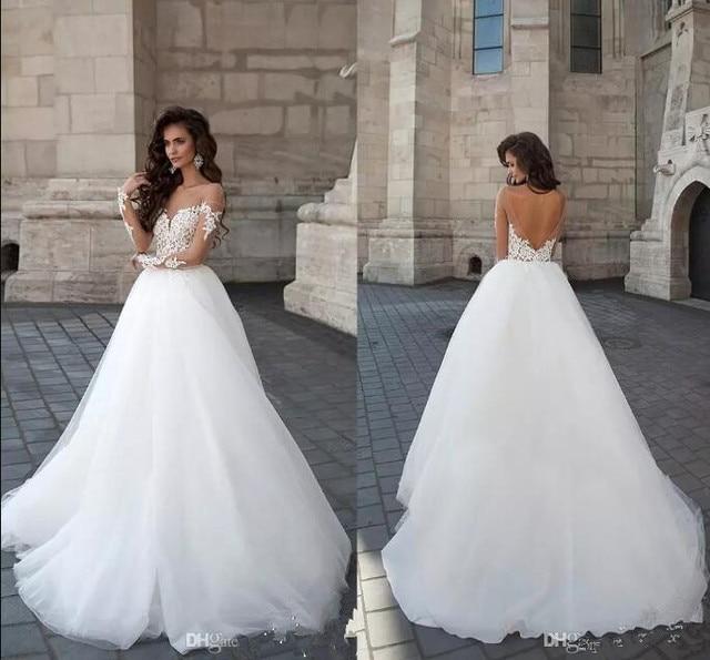 2017 New Designer Backless Wedding Dress Kurti Jordans Women Long Illusion Sleeves Lace Liques A