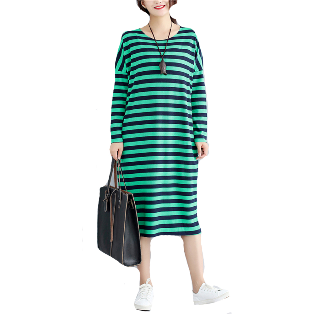 Fall Clothes 2017 New Autumn Loose Dress Plus Size Women Long Sleeved Knitted Stripe Sweater Dresses Ladies Oversize Vestidos plain loose long sleeve plus size dress