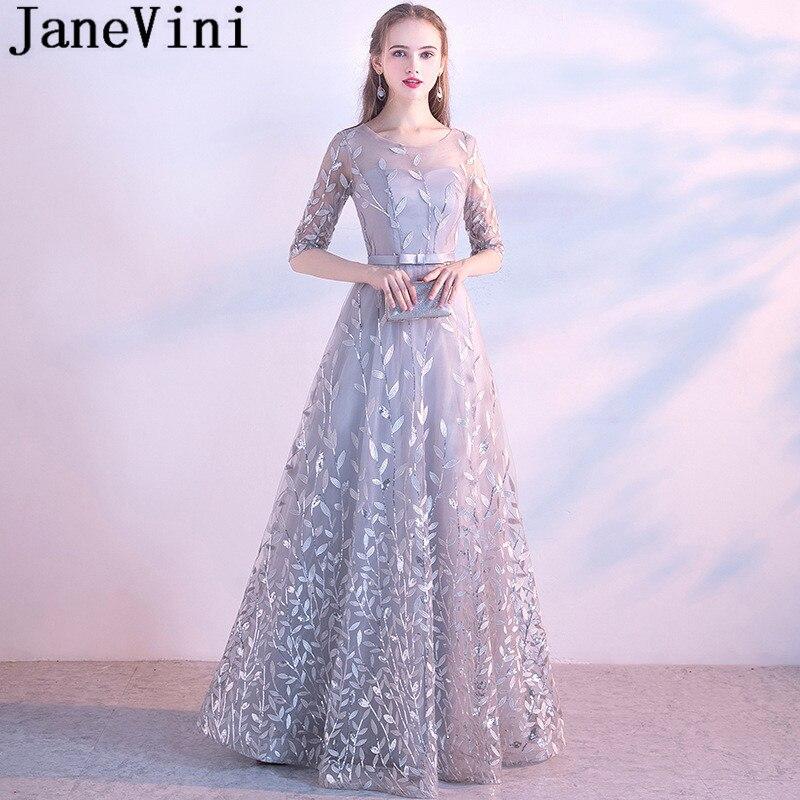 JaneVini Light Gray Sequined Leaves Ladies Wedding Party Dress With Half Sleeves Long Elegant Bridesmaid Dresses