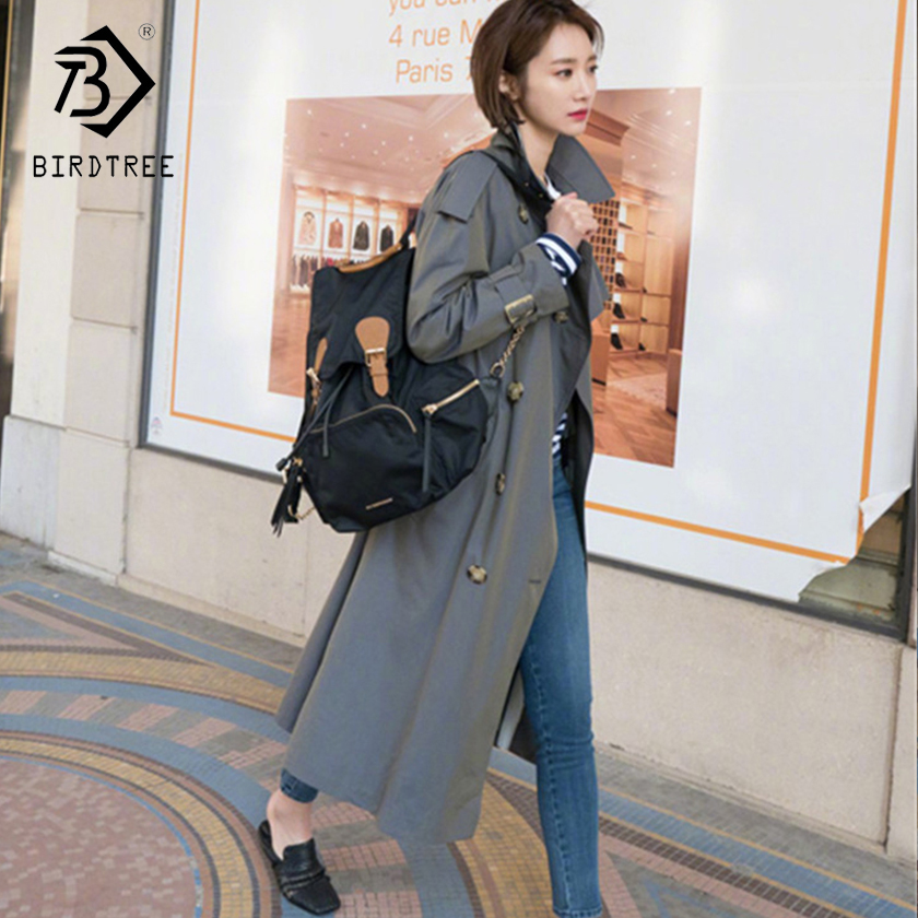 Women's 2018 New Fashion Solid   Trench   Full Sleeve Turn-down Collar Loose Double Breasted Style Pockets Outerwear Hots C87923LD