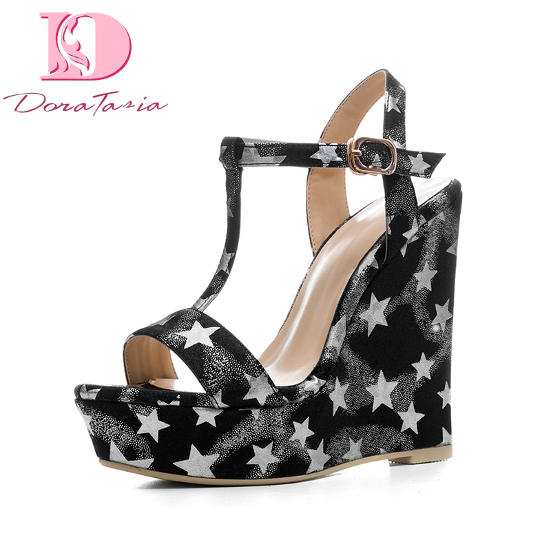 DoraTasia New Size 34-41 Platform Brand Shoes Woman Sexy Wedges High Heels t-strap Women Summer Shoes Sandals Woman Footwear woman fashion high heels sandals women genuine leather buckle summer shoes brand new wedges casual platform sandal gold silver