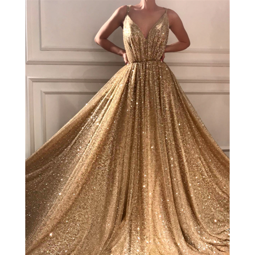 Sparkly Champagne Sequins Formal   Evening     Dress   2019 New Spaghetti Strap A Line Custom Made Prom Gowns Fashionable Party   Dresses