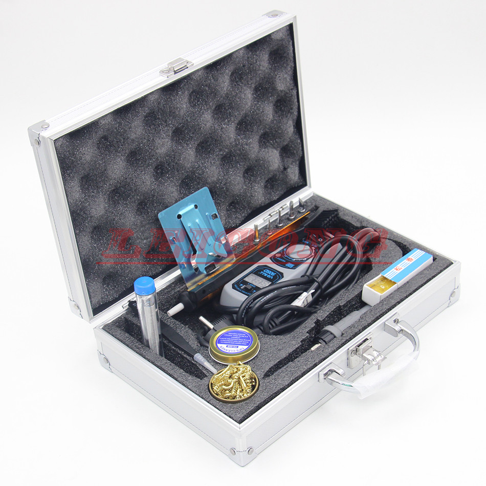YIHUA 908D 60W Electric Soldering Iron SMD Solder Station Adjustable Thermostat Mini Pocket Iron Rework Repair Tools Metal Box 936 soldering station 220v 60 65w electric soldering iron for solder adjustable machine make seals tin wire solder tip