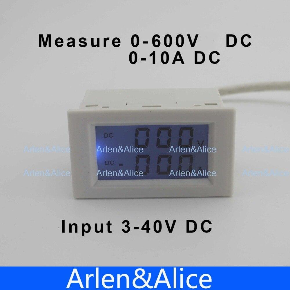 Dual LCD display DC Voltage and current meter voltmeter ammeter range DC 0-600V 0-10A Blue backlight DC 3~40 Input With shunt