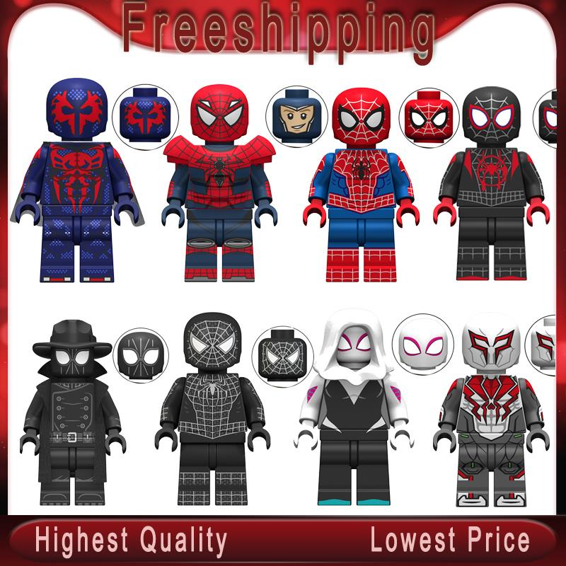 Legoing Minifigured Marvel Avengers Spiderman Ultimate Spider-Man Noir Gwenom Building Blocks Bricks Toys For Children KT1016(China)