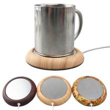 Original Wood Grain USB Warmer Cup Heater Beverage Mug Mat Keep Drink Warm Mugs Coaster Gadget