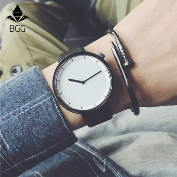 Minimalist stylish Men Quartz Watches Drop Shipping 2018 New Fashion Simple Black Clock BGG Brand Male Wristwatches gifts clock