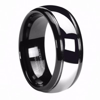 Queenwish 8mm Black Tungsten Ring Silver Color Dome His And Hers Promise Ring Sets Size 6