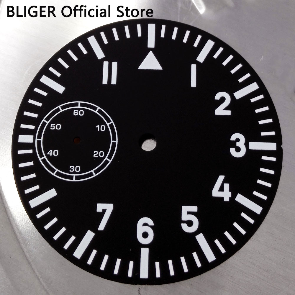 BLIGER 38.9mm Black Sterile Dial White Numerals Marks Watch Dial Fit For ETA 6497 Hand Winding Movement D19