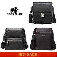 BISON DENIM Men S Bag100 Leather Messenger Bag Black Business Crossbody Bags For Men Brand Designer