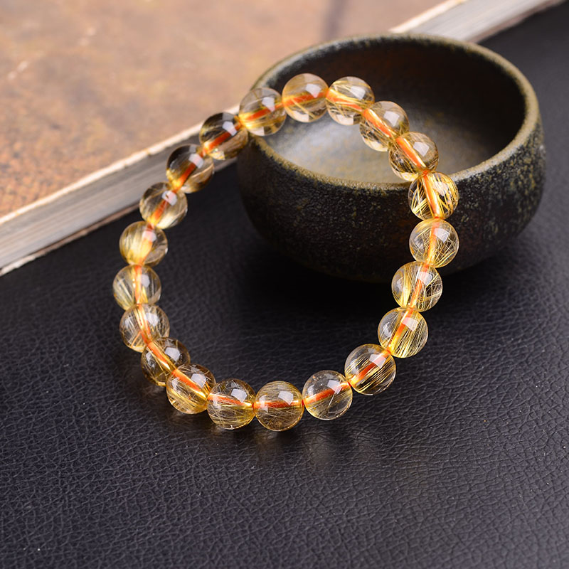 Authentic Gold Rutilated Quartz Hair Crystal Beads Bracelets 6-14mm Handmade Unique Jewelry