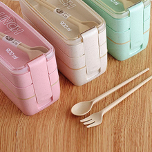 Healthy Material Wheat Straw Lunch Box 3 Layer Microwave Japanese Style Food Container with Fork Spoon