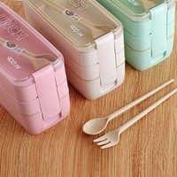 Fiambrera de paja de trigo de Material saludable, 3 capas, 900 ml, portátil, contenedor de alimentos para microondas, cajas de vajilla con vajilla