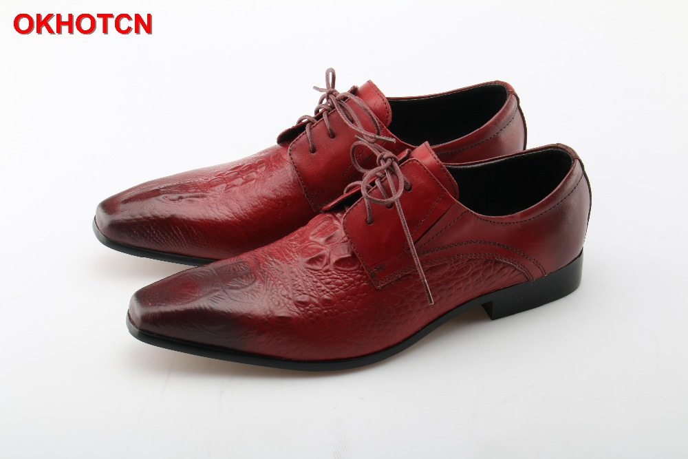 Genuine Leather Shoes Men Lace Up Dress Shoe Red Plus Size Customize Wedding Business Derby Shoes Fashion OKHOTCN Zapatos Hombre patent leather men s business pointed toe shoes men oxfords lace up men wedding shoes dress shoe plus size 47 48