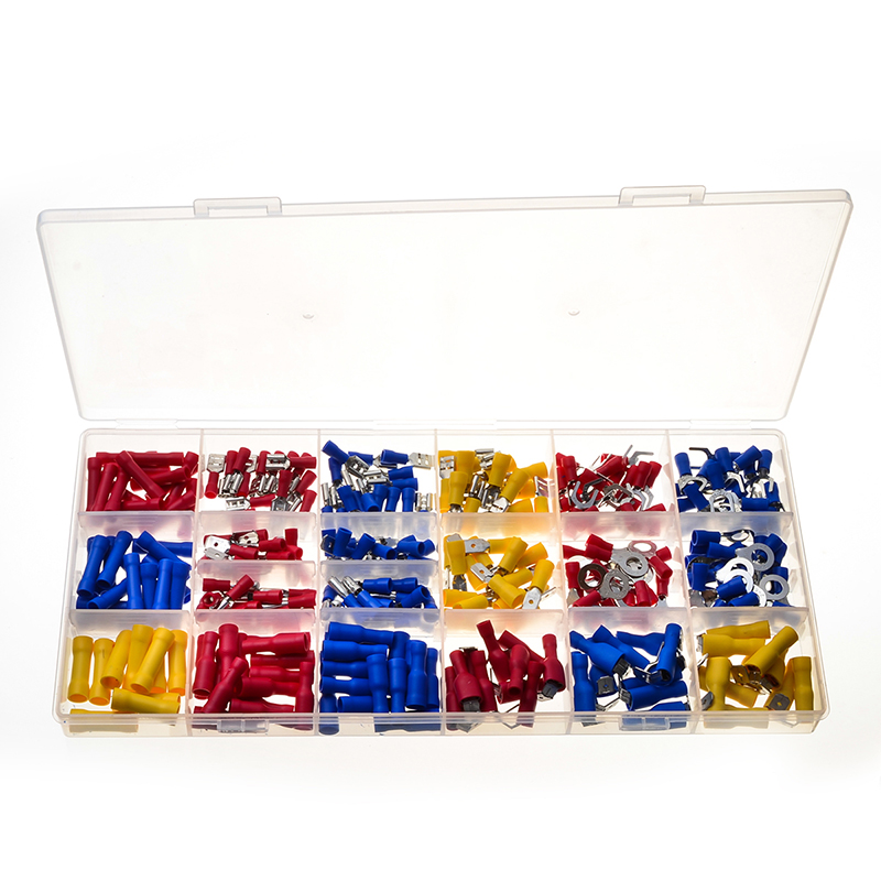 300PCS Male/Female PVC Red Blue Yellow Cold-Pressed Wire Connectors Butt Splice Terminals Connectors Kits with Box 305pcs insulated 22 10awg terminals cold pressed wire connectors