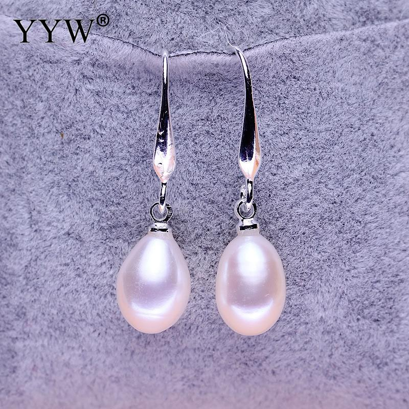 YYW OL Temperament Long Section Of Pearl Earrings Luxurious Rice-shaped Freshwater Pearls Earring For Women Party Jewelry