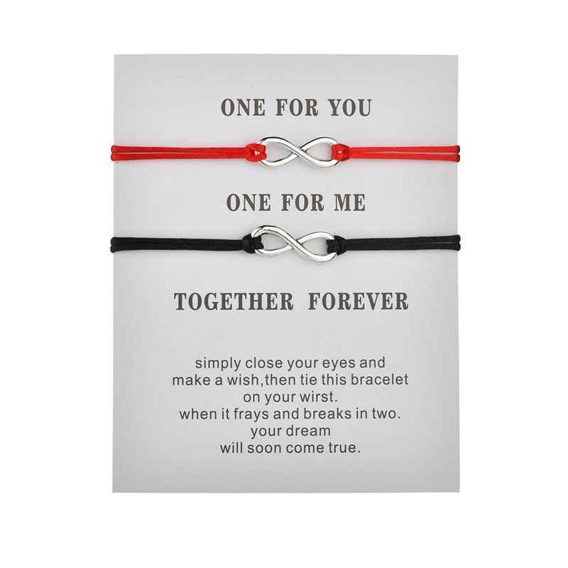 2 unids/set juntos para siempre amor infinito pulsera para los amantes rojo cadena pulseras de pareja de Los hombres y las mujeres el deseo de regalo de la joyería