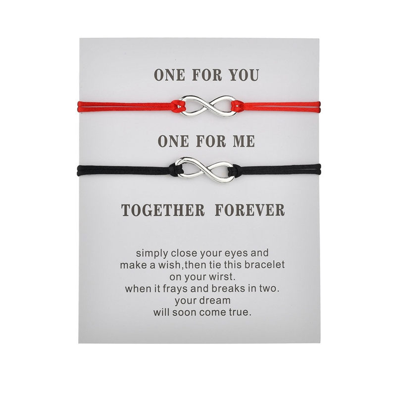 Together Forever Love Infinity Bracelet for Lovers Black Red String Couple Bracelets Wedding Wish Jewelry for Women(China)