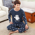 Conjuntos de pijamas de los hombres conjunto de salón 2017 de primavera y otoño ropa de noche masculina de manga larga de algodón de dibujos animados más el tamaño 4XL