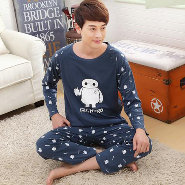 Pajama sets men lounge set 2017 spring and autumn male sleepwear long-sleeve cotton cartoon plus size 4XL