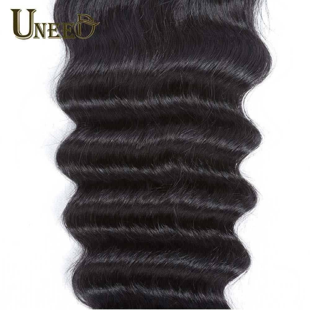 """Uneed волосы малазийские свободные глубокие синтетические волосы волнистые Remy человеческие волосы кружева закрытия 120% Плотность 10 """"-20"""" швейцарское кружево может совпадать с пучками"""
