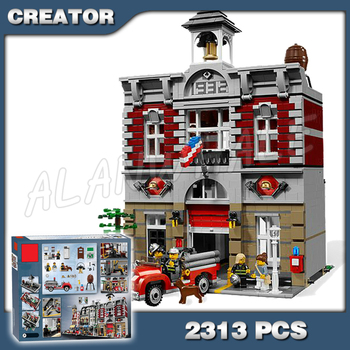 2313pcs 15004 Fire Brigade Hall DIY Model Building Blocks authentic vintage fire station Toys Compatible with Lago