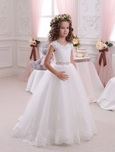 Chaming Ivory Blonde Flower Girl Kjoler Ball Gown Floor Lengde Girls First Communion Dress Prinsesse Dress 2-14 Old 2018