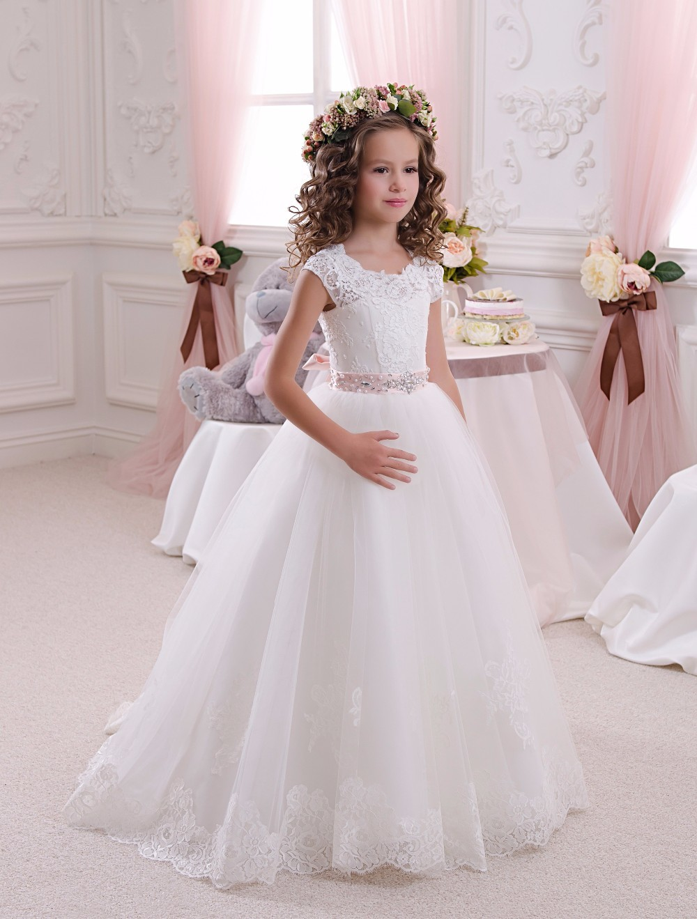 Chaming Ivory Lace   Flower     Girl     Dresses   Ball Gown Floor Length   Girls   First Communion   Dress   Princess   Dress   2-14 Old 2018