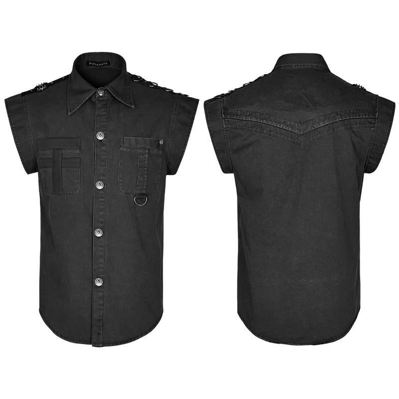 Gothique Punk chemise hommes été volants manches chemises Style militaire hommes chemises décontractées Blouses couleur noire unique boutonnage hauts