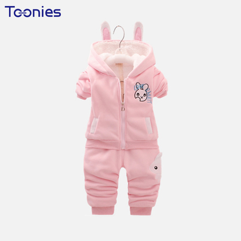 Baby Girls Pants Suits Warm Cashmere Toddler Clothes Sets Winter Cartoon Hooded Kids Sportswear Long Sleeves Girl Clothing Sets autumn winter boys girls clothes sets sports suits children warm clothing kids cartoon jacket pants long sleeved christmas suit