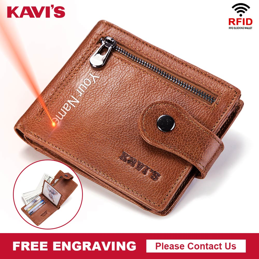 KAVIS Free Engraving Fashion Genuine Leather Men Wallet Coin Purse Male Cuzdan Zipper Walet Carder Holder PORTFOLIO Valllet Hasp